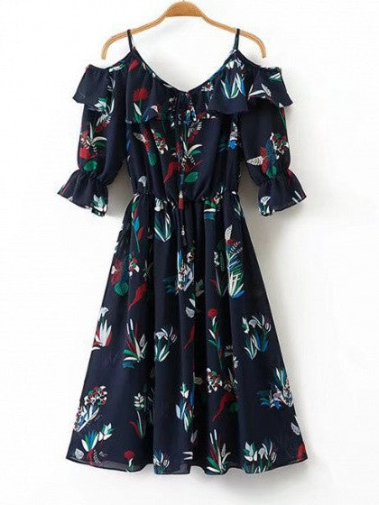 Navy Floral Cold Shoulder Ruffle Trim Tie Front Midi Dress