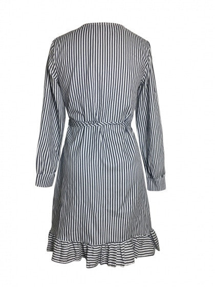 Monochrome Stripe V Neck Wrap Tie Waist Ruffle Trim Dress