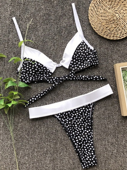 Black Contrast Polka Dot Print Tie Back Bikini Set