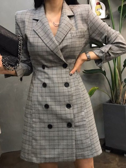 Gray Plaid Lapel Double-breasted Longline Coat