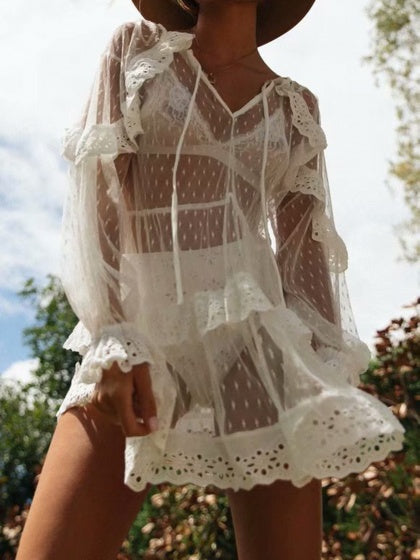 White V-neck Ruffle Trim Puff Sleeve Sheer Mini Dress