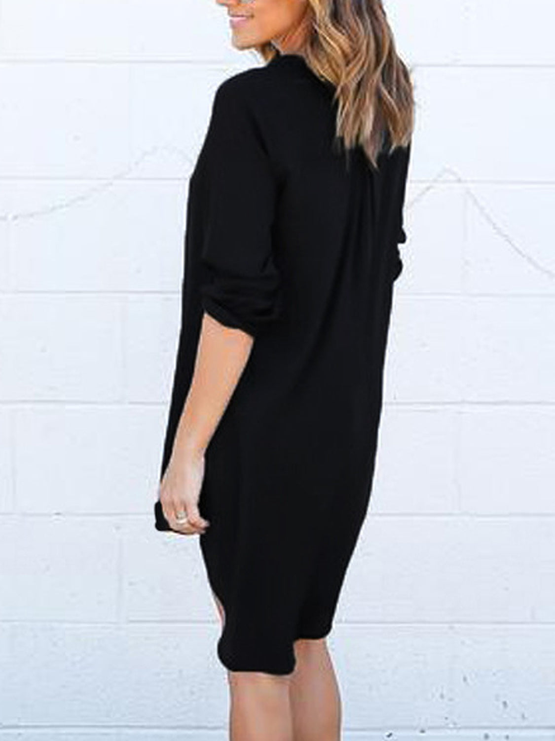 Coffee V-neck Roll-up Sleeve Dipped Hem Dress