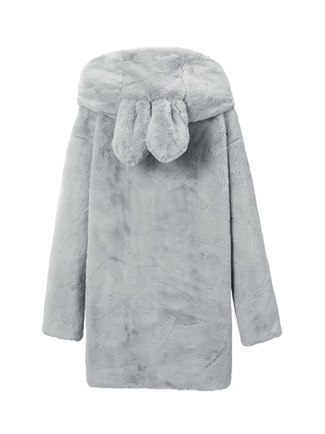 Gray Oversized Hooded Faux Fur Coat