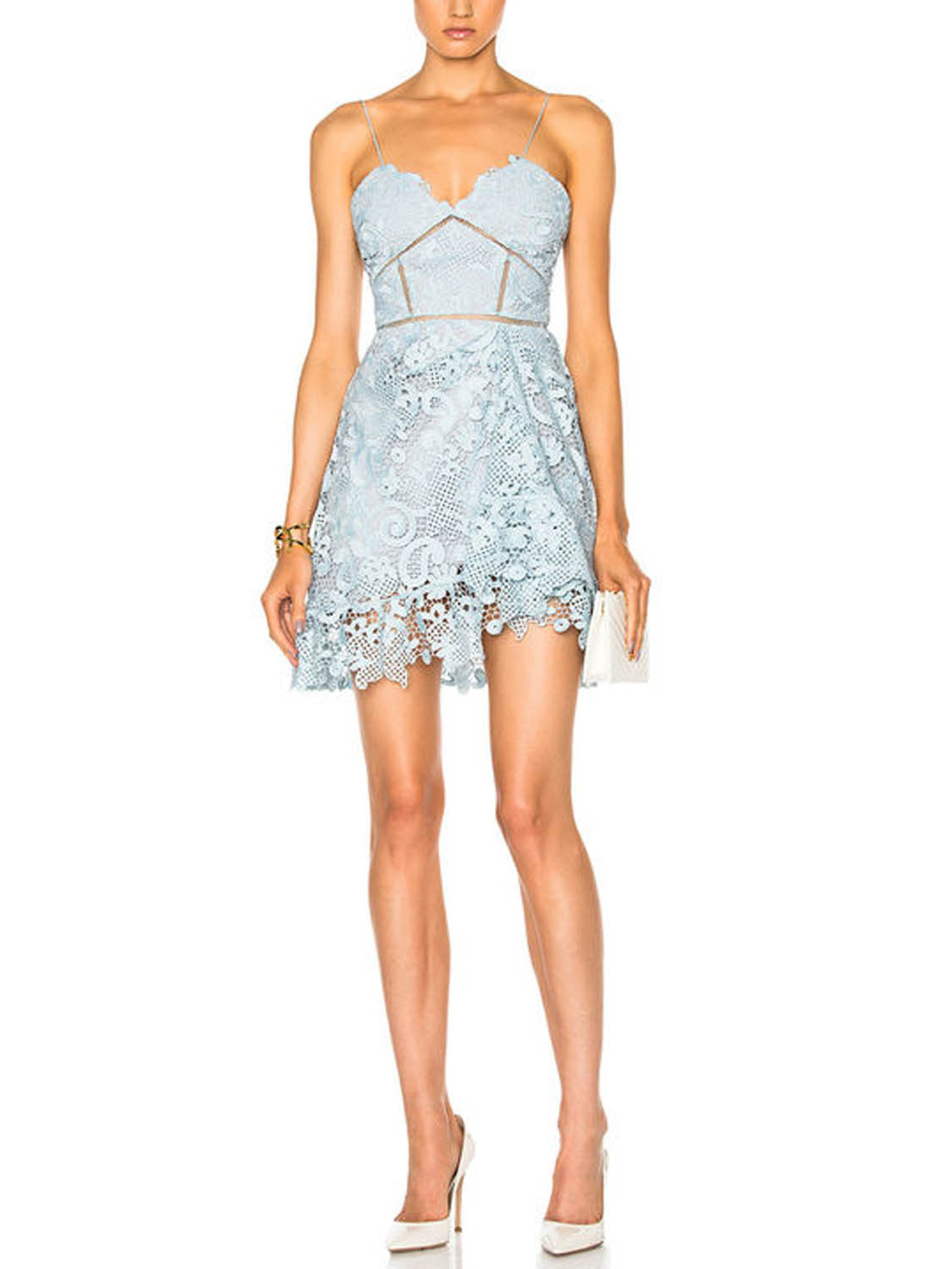 Blue Spaghetti Strap Sweetheart Cutwork Crochet Lace Mini Dress