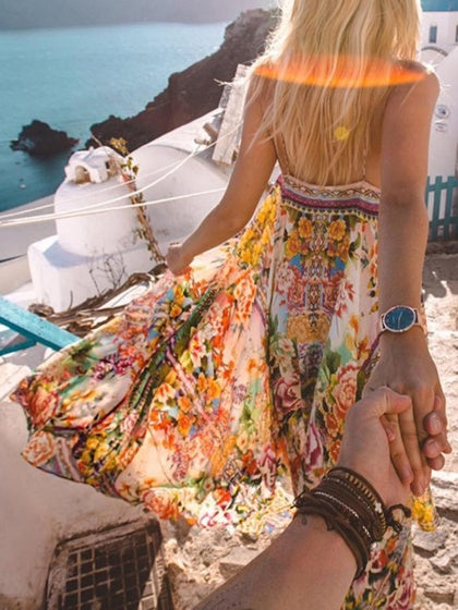 Polychrome Spaghetti Strap Print Detail Dress