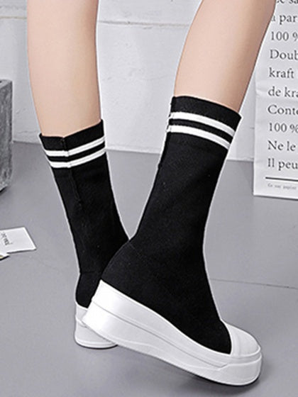 Black Contrast Stripe Stretch Knit Flatfrom Boots