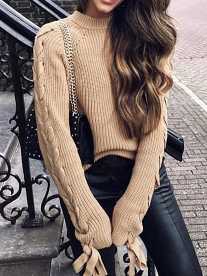 Camel Brown High Neck Long Sleeve Chic Women Knit Sweater