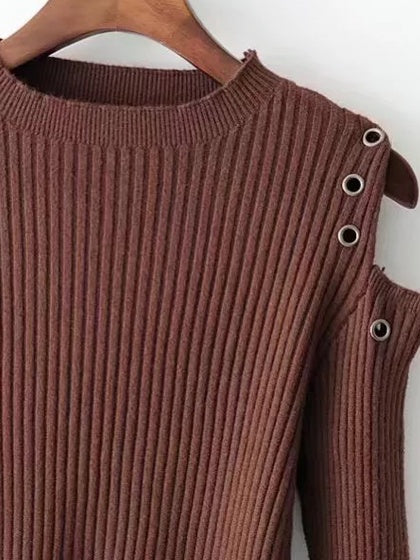 Coffee Cold Shoulder Eyelet Detail Rib Knit Sweater