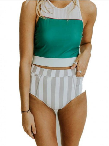 Green Contrast Women Bikini Top And High Waist Stripe Bottom