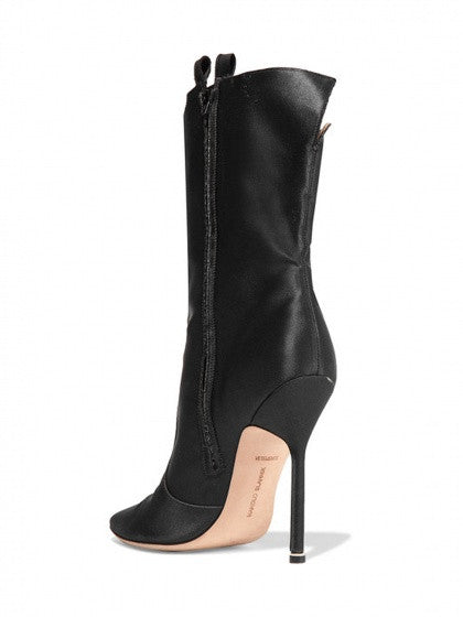 Black Satin Look Side Zip Pointed Heeled Boots