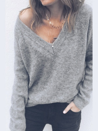 Gray Cotton Blend V-neck Long Sleeve Sweater ffd80708c