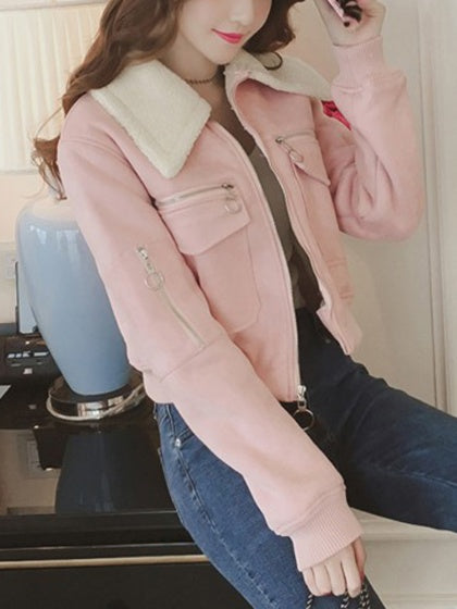 Pink Faux Shearling Pocket Cropped Jacket