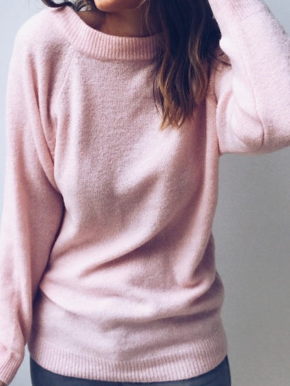 Pink Cotton Blend V-neck Long Sleeve Sweater 982d771eb