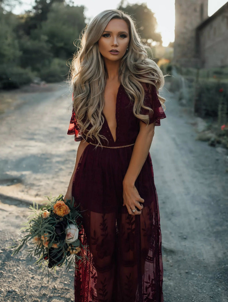 Burgundy Plunge Chain Waist Short Sleeve Split Lace Maxi Dress