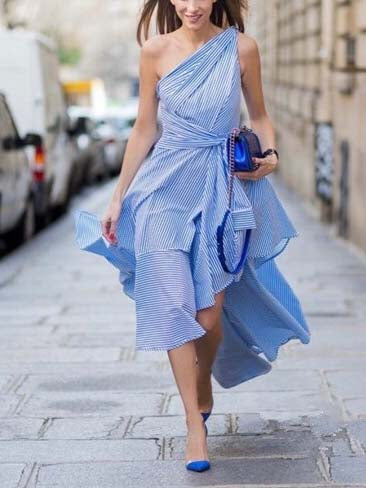 Blue Stripe One Shoulder Tie Waist Asymmetric Hem Maxi Dress