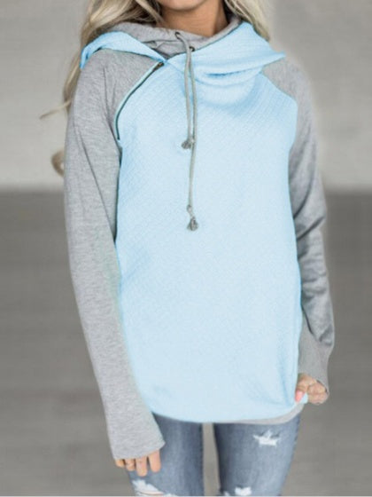 Light Blue Contrast Cotton Zip Front Long Sleeve Fleece Hoodie