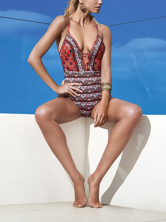 Polychrome Geo-tribal Plunge Tie Front Strap Back Cross One-piece Swimsuit