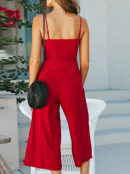 Red Cotton Spaghetti Strap Chic Women Romper Jumpsuit
