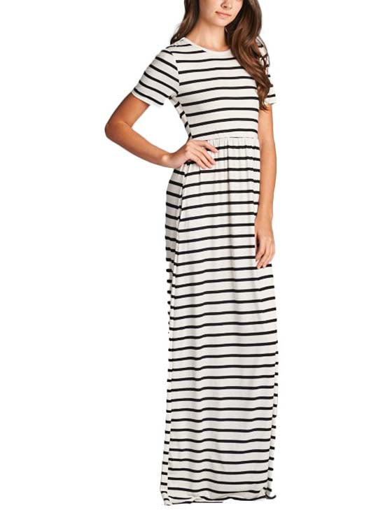 Monochrome Stripe Maxi Dress