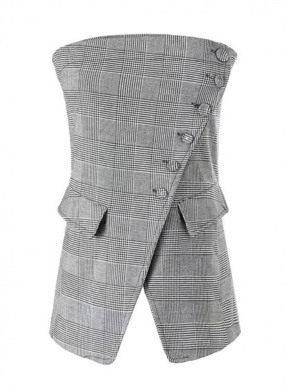 Gray Plaid Bandeau Asymmetric Front Top