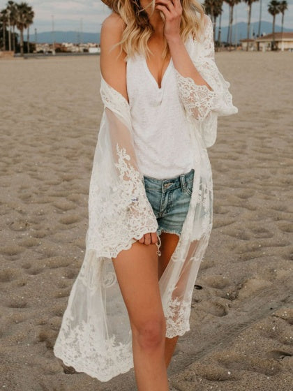 6c2ce1eecd58d White Embroidery Detail Long Sleeve Chic Women Lace Longline Kimono