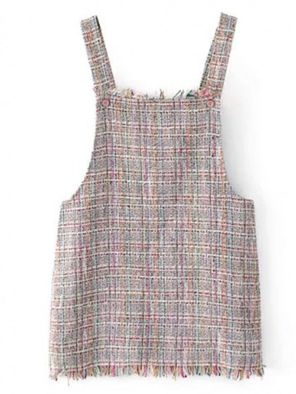 Polychrome Pocket Wool Blend Overall Dress