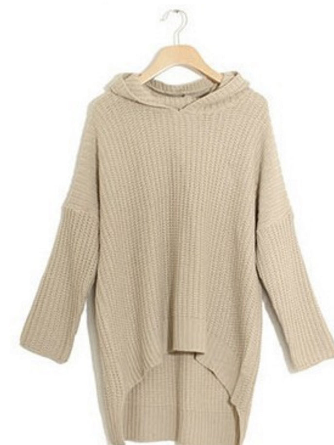 Khaki V-neck Hooded Knit Sweater