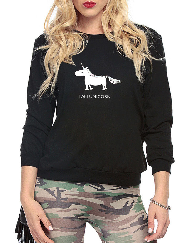 Black Unicorn Print Long Sleeve Sweatshirt