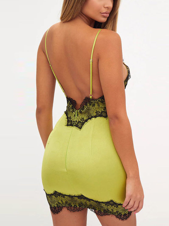Fluorescence Green V-neck Lace Trim Mini Dress