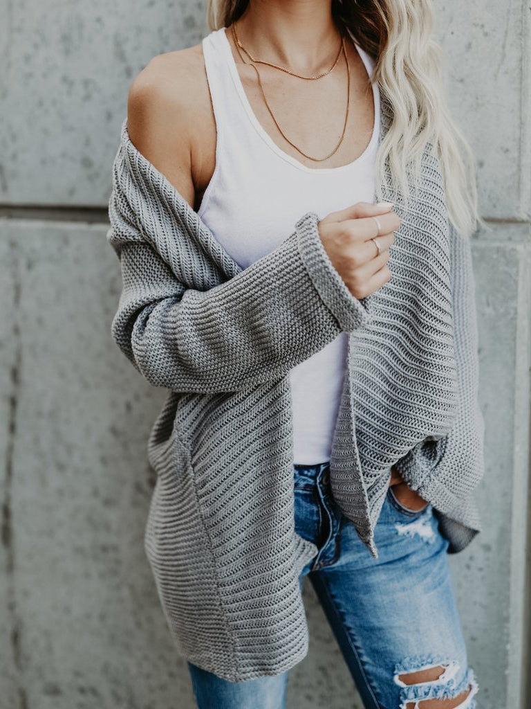Gray Open Front Long Sleeve Chunky Cardigan