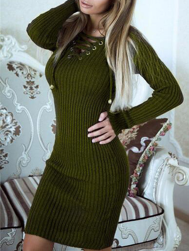 Green Lace Up Front Long Sleeve Ribbed Bodycon Dress