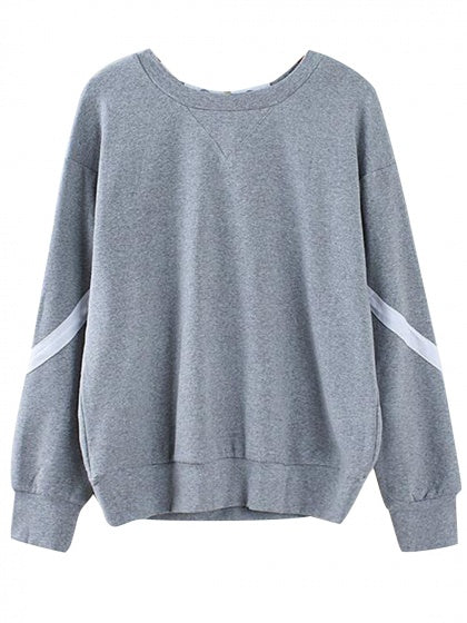 Gray Contrast Lace Up Back Long Sleeve Sweatshirt