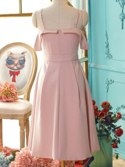 Pink Folded Cold Shoulder Belt Waist Cami Dress