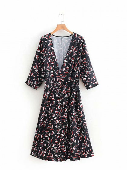 Black V-neck Floral Print Tie Waist Women Midi Dress