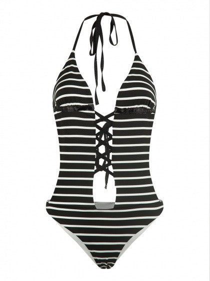 Black Stripe Halter Lattice Front Backless One-piece Swimsuit