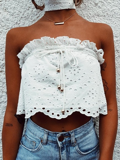 White Cut Out Detail Frill Trim Chic Women Lace Crop Cami Top