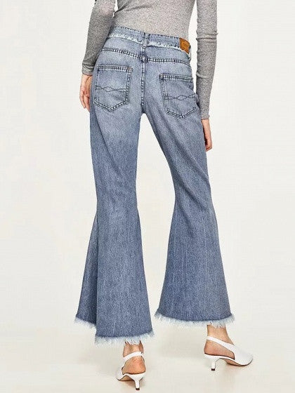 Blue Light Wash Ripped Raw Hem Flare Jeans