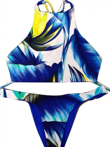 Blue Feather Print Bikini Top And Bottom