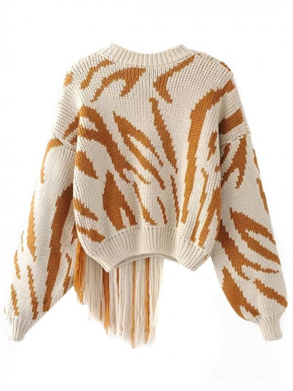 Khaki Tassel Detail Long Sleeve Chunky Knit Sweater