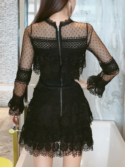 Black Sheer Mesh Panel Long Sleeve Lace Mini Dress