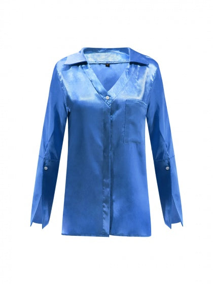 Blue V-neck Pocket Detail Long Sleeve Women Shirt