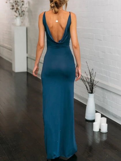 Blue Plunge Open Back Sleeveless Chic Women Bodycon Maxi Dress