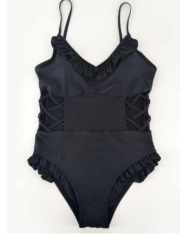 Black Ruffle Trim Cut Out Detail Swimsuit