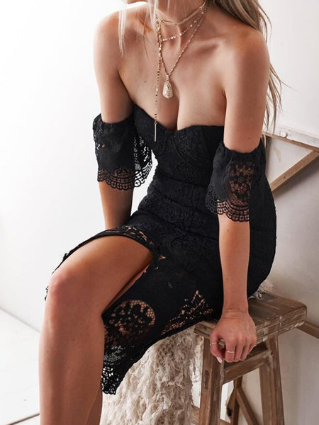 Bandeau Thigh Split Front Lace Dress
