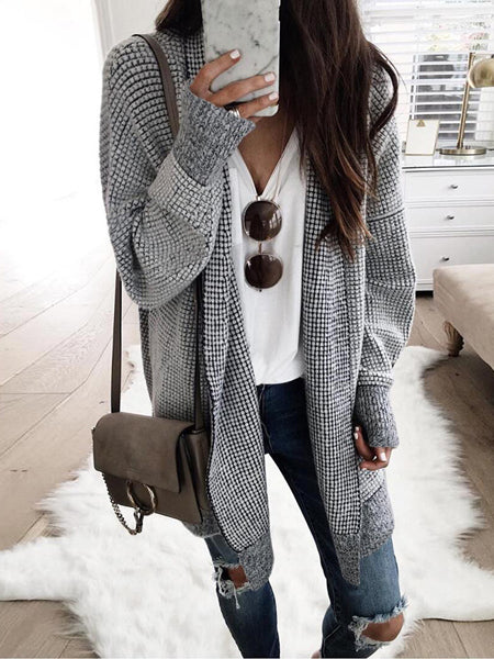 Black Plaid Cotton Open Front Long Sleeve Women Cardigan
