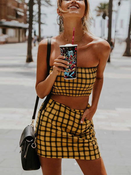 62e9607046 Yellow Plaid Bandeau Crop Top And High Waist Skirt – MYNYstyle