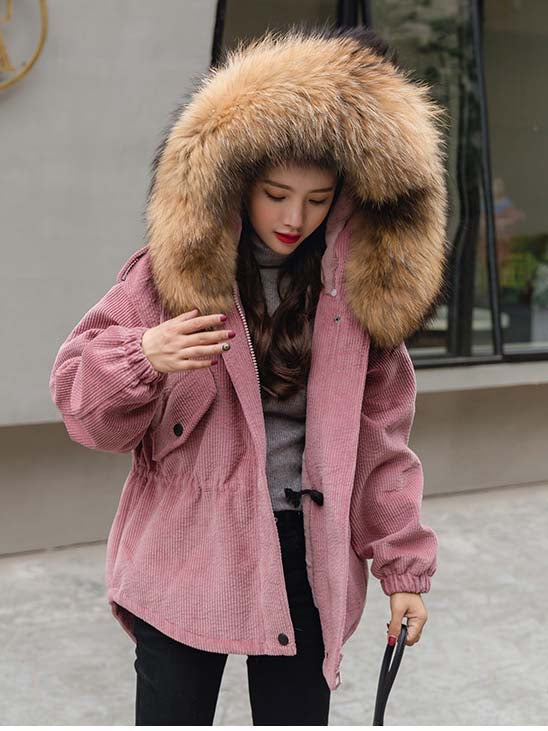 Pink Drawstring Waist Faux Fur Hooded Corduroy Coat