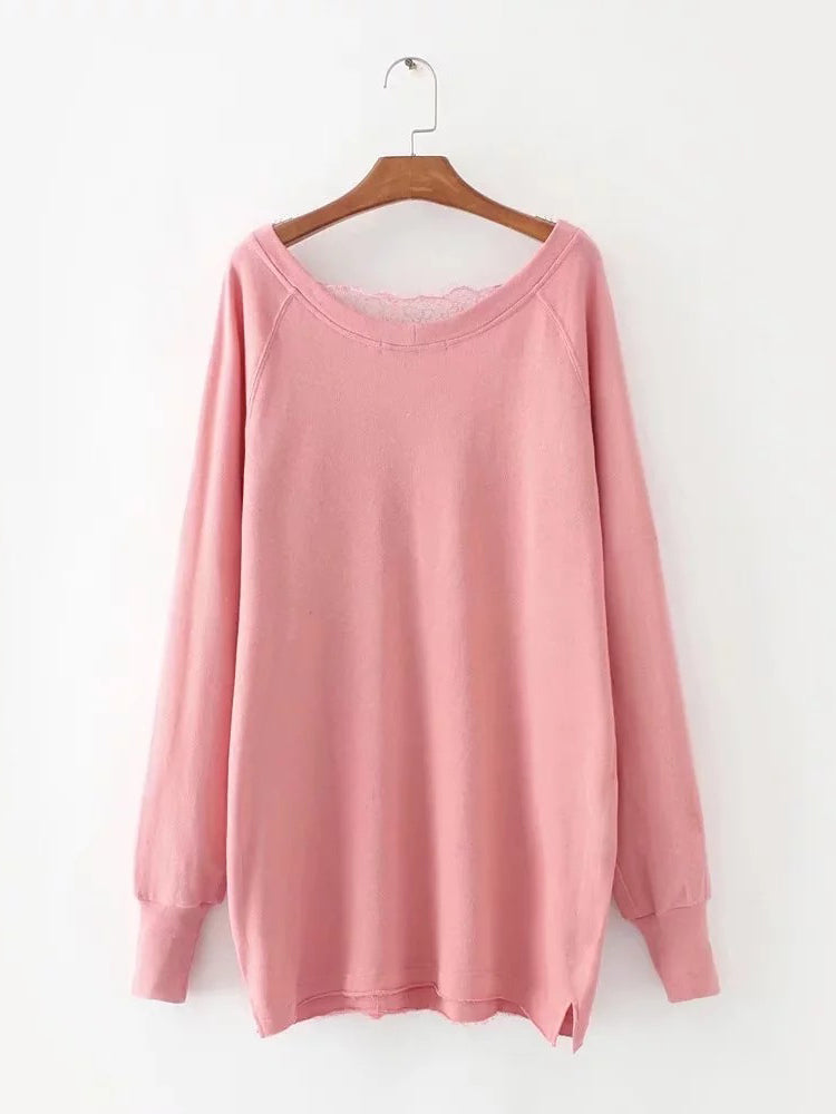 Pink V Neck Lace Panel Split Detail Longline Sweatshirt