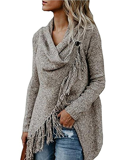Khaki Tassel Trim Long Sleeve Cardigan