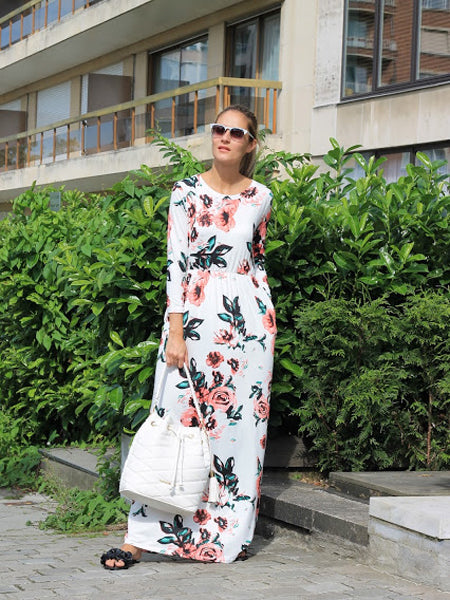 f23bf8defc White Floral Long Sleeve Maxi Dress